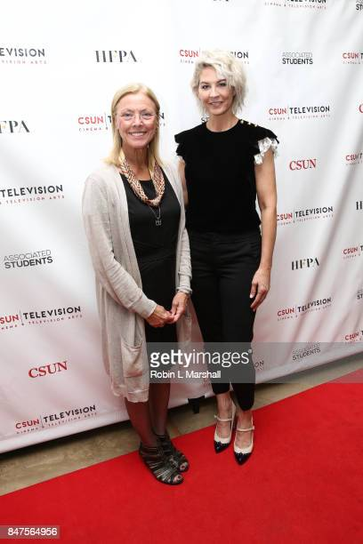 President Dianne F Harrison and Actress Jenna Elfman attend Northridge's Dedication of the Hollywood Foreign Press Association Wing at California...