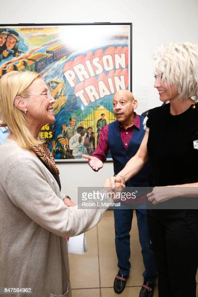 President Dianne F Harrison greets Actress Jenna Elfman at Northridge's Dedication of the Hollywood Foreign Press Association Wing at California...