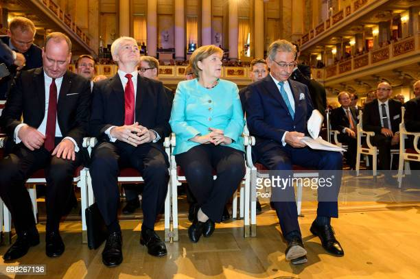 BDI President Dieter Kempf German Chancellor Angela Merkel Heinrich Hiesinger CEO of ThyssenKrupp AG and Joachim Lang CEO of Federation of German...
