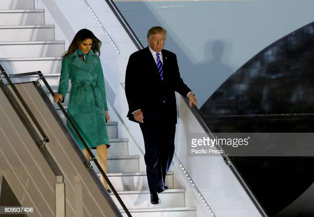 President Donald J Trump and First Lady Melania Trump arrived in Warsaw Poland late in the evening on July 05 2017 President Trump accepted the...