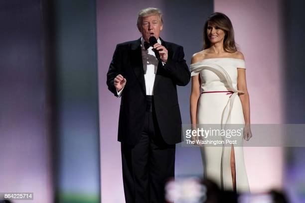 WASHINGTON DC President Donald J Trump and the First Lady Melania Trump had their first dance at the Liberty Inauguration Day Ball cheered on by...