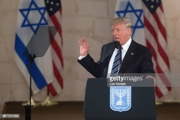 US President Donald J Trump delivering a speech during a visit to the Israel Museum on May 23 2017 in Jerusalem Israel US President Donald Trump...
