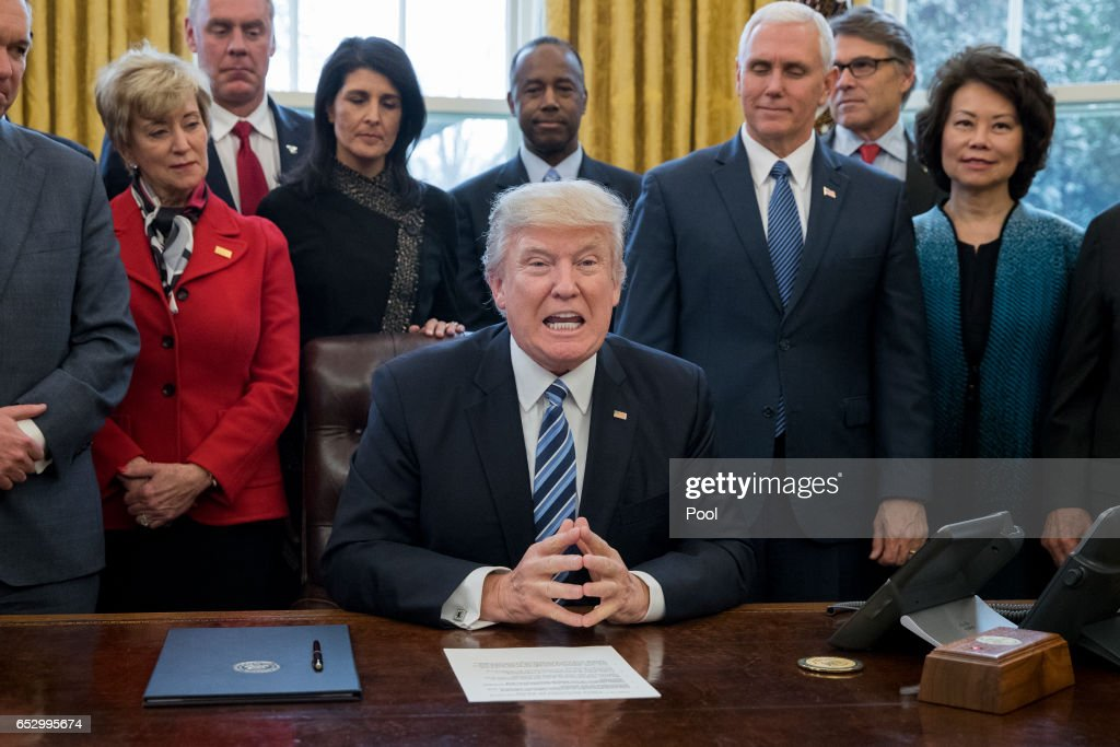 US President Donald J. Trump (C) delivers brief remarks before signing an executive order entitled, 'Comprehensive Plan for Reorganizing the Executive Branch', beside members of his Cabinet in the Oval Office of the White House on March 13, 2017 in Washington, DC.
