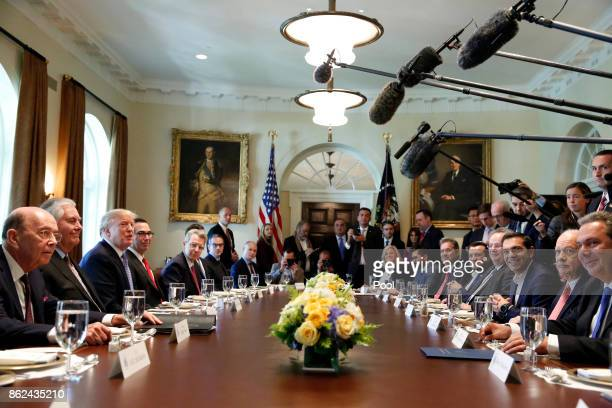 US President Donald J Trump hosts Greek Prime Minister Alexis Tsipras for a working lunch in the Cabinet Room on October 17 2017 at the White House...