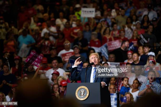 President Donald J Trump speaks at his campaign rally at the Big Sandy Superstore Arena on August 3 2017 in Huntington West Virginia