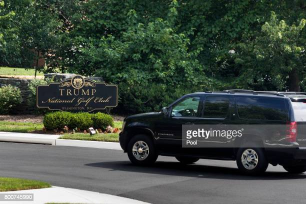 S President Donald J Trump's motorcade arrives at the Trump National Golf Club June 25 2017 in Sterling Virginia Trump has hit the links an average...