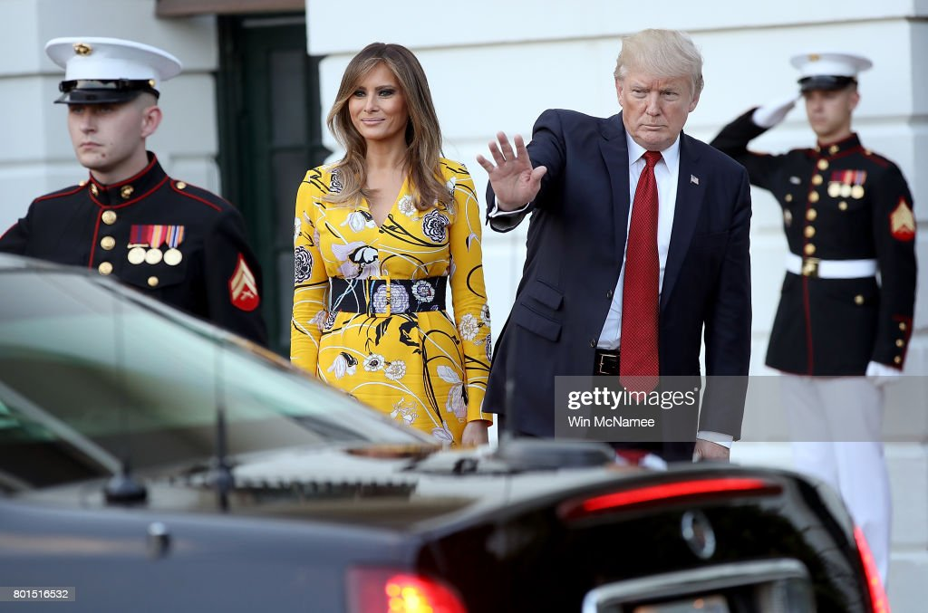 U.S. President Donald Trump, accompanied by first lady Melania Trump, waves as Indian Prime Minister Narendra Modi departs the White House June 26, 2017 in Washington, DC. Trump and Modi had a series of meetings throughout the day to discuss a range of bilateral issues.
