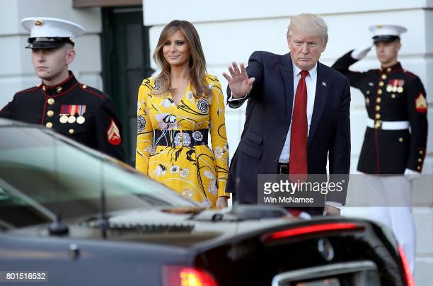 S President Donald Trump accompanied by first lady Melania Trump waves as Indian Prime Minister Narendra Modi departs the White House June 26 2017 in...