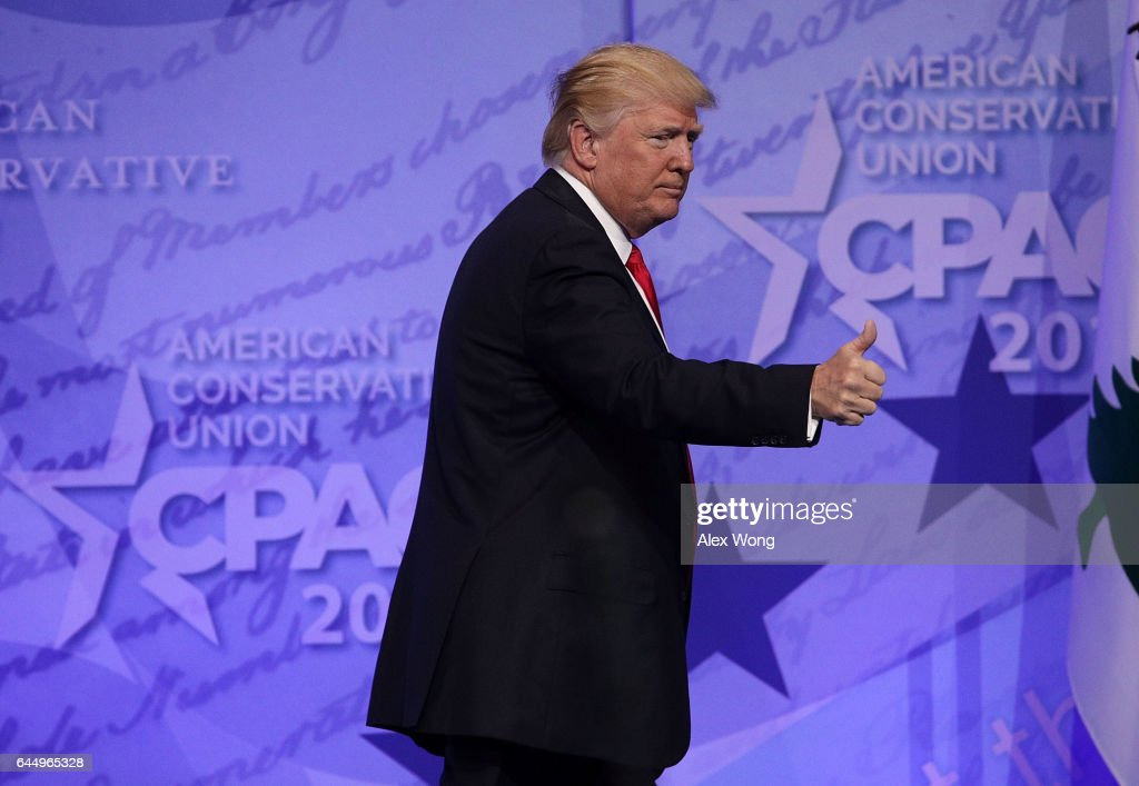 U.S. President Donald Trump acknowledges the crowd after he addressed the Conservative Political Action Conference at the Gaylord National Resort and Convention Center February 24, 2017 in National Harbor, Maryland. Hosted by the American Conservative Union, CPAC is an annual gathering of right wing politicians, commentators and their supporters.