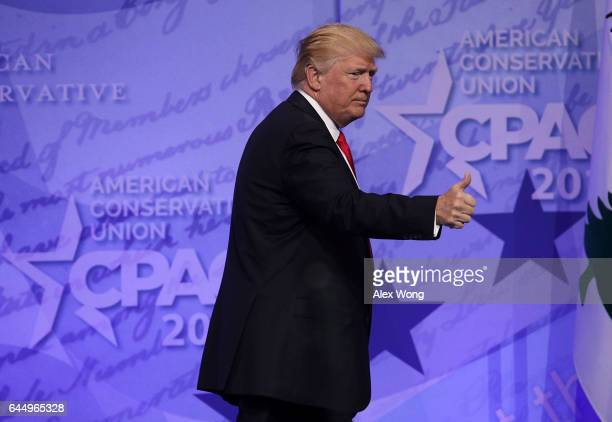 S President Donald Trump acknowledges the crowd after he addressed the Conservative Political Action Conference at the Gaylord National Resort and...