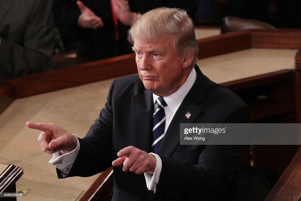 U.S. President Donald Trump addresses a joint session of the U.S. Congress on February 28, 2017 in the House chamber of the U.S. Capitol in Washington, DC. Trump's first address to Congress focused on national security, tax and regulatory reform, the economy, and healthcare.