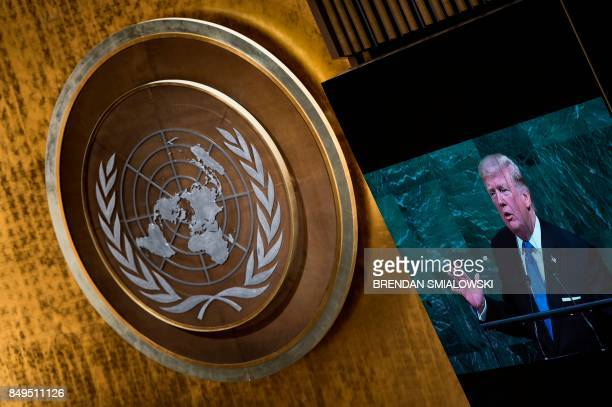 US President Donald Trump addresses the 72nd Annual UN General Assembly in New York on September 19 2017 / AFP PHOTO / Brendan Smialowski