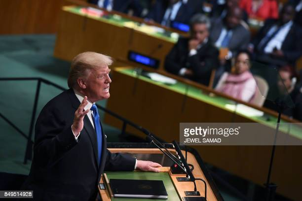 US President Donald Trump addresses the 72nd Annual UN General Assembly in New York on September 19 2017 / AFP PHOTO / Jewel SAMAD