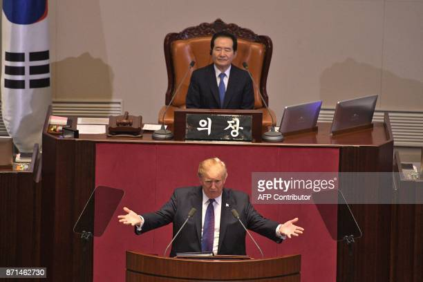US President Donald Trump addresses the National Assembly in Seoul on November 8 2017 Trump's marathon Asia tour moves to South Korea another key...