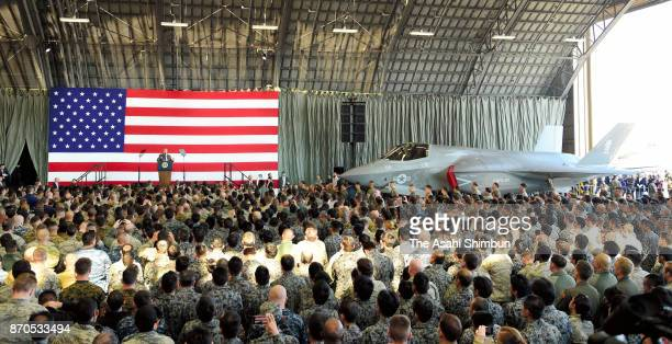 US President Donald Trump addresses US military personnel at Yokota Air Base on November 5 2017 in Fussa Tokyo Japan Trump is on 11day tour to Asia