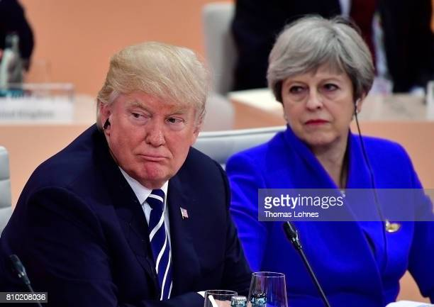 S President Donald Trump and British Prime Minister Theresa May pictured during the first working session of the G20 Nations Summit with the topic...
