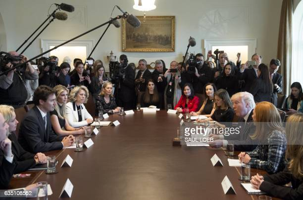 US President Donald Trump and Canadian Prime Minister Justin Trudeau hold a roundtable discussion on women entrepreneurs and business leaders in the...