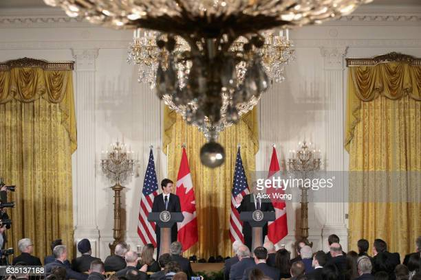S President Donald Trump and Canadian Prime Minister Justin Trudeau end a joint news conference in the East Room of the White House on February 13...