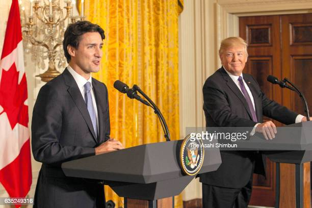US President Donald Trump and Canadian Prime Minister Justin Trudeau participate in a joint news conference in the East Room of the White House on...