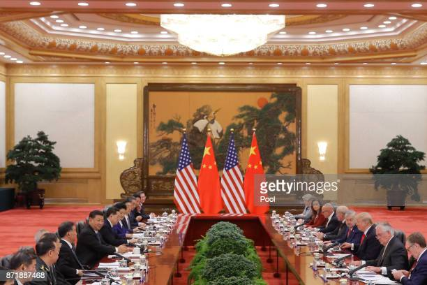 S President Donald Trump and China's President Xi Jinping hold bilateral meetings at the Great Hall of the People on November 9 2017 in Beijing China...