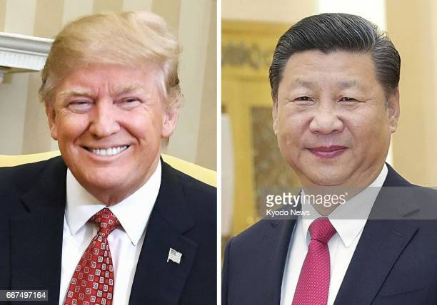 US President Donald Trump and Chinese President Xi Jinping seen in this undated combined photo held talks over the phone on April 12 2017 The two...