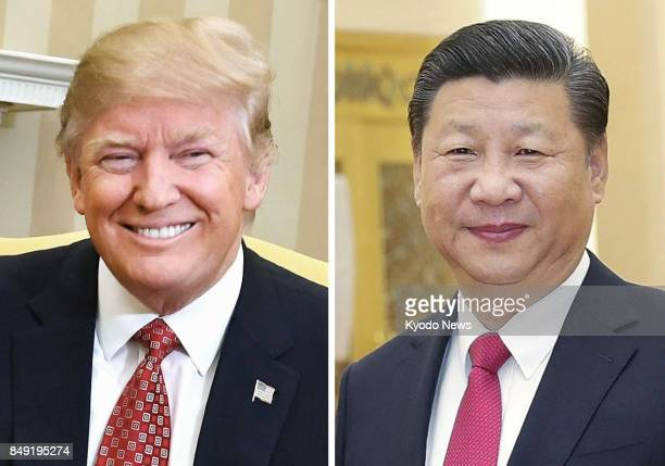 US President Donald Trump and Chinese President Xi Jinping seen in this combined file photo agreed in telephone talks on Sept 18 2017 to 'maximize...