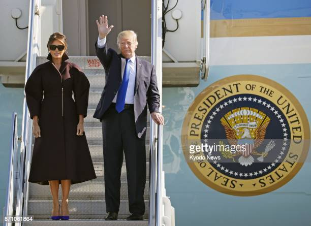 US President Donald Trump and first lady Melania prepare to depart US Yokota Air Base on the outskirts of Tokyo for South Korea on Nov 7 2017 ==Kyodo