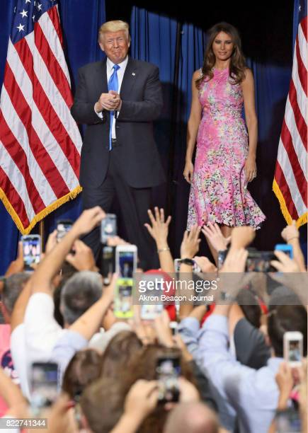 President Donald Trump and first lady Melania Trump arrive at a Make America Great Again rally at the Covelli Centre in Youngstown Ohio on Tuesday...