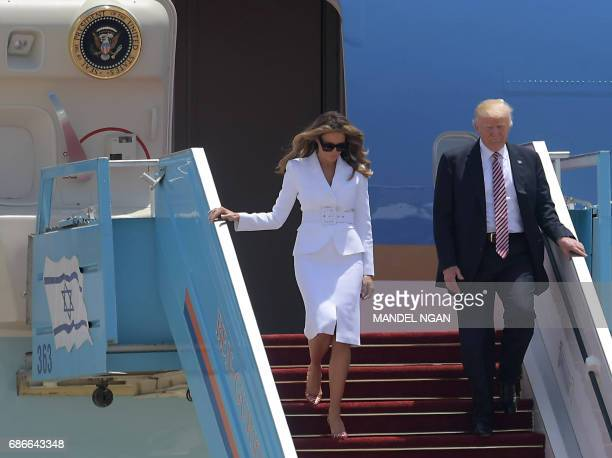 US President Donald Trump and First Lady Melania Trump arrive at Ben Gurion International Airport in Tel Aviv on May 22 as part of his first trip...