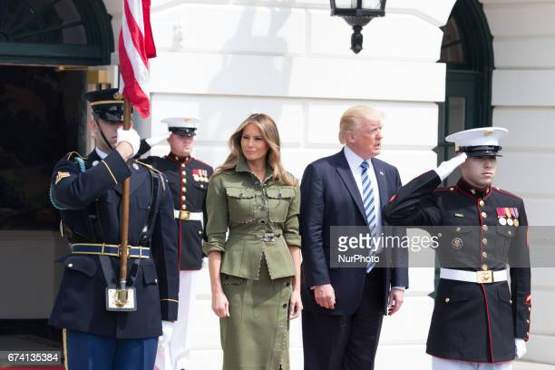President Donald Trump and First Lady Melania Trump await the arrival of President Mauricio Macri and First Lady Juliana Awada of Argentina at the...