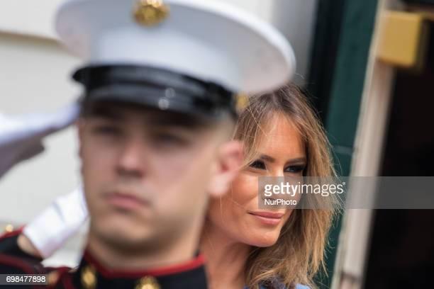 President Donald Trump and First Lady Melania Trump await the arrival of President Juan Carlos Varela and Mrs Lorena Castillo Varela of Panama at the...