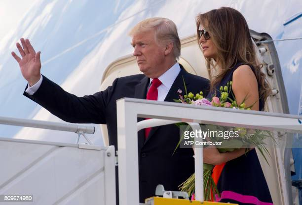 US President Donald Trump and First Lady Melania Trump board Air Force One prior to departing from Warsaw Chopin Airport in Warsaw Poland on July 6...