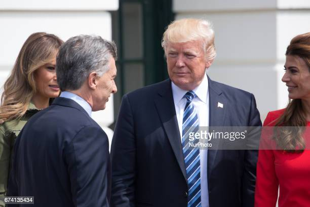 President Donald Trump and First Lady Melania Trump center welcomed President Mauricio Macri and First Lady Juliana Awada of Argentina at the South...