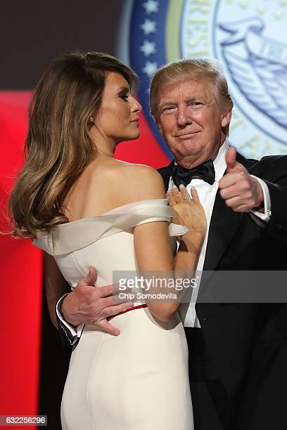 S President Donald Trump and first lady Melania Trump dance during the Freedom Ball at the Washington Convention Center January 20 2017 in Washington...