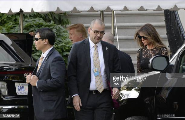President Donald Trump and first lady Melania Trump depart the White House en route to the Naval Observatory for dinner with Vice President Mike...