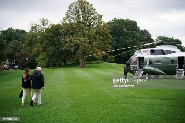 S President Donald Trump and first lady Melania Trump depart the White House September 14 2017 in Washington DC Trump is scheduled to visit Florida...