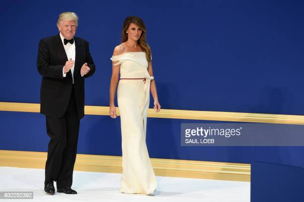 US President Donald Trump and First Lady Melania Trump during the Salute to Our Armed Services Inaugural Ball at the National Building Museum in...