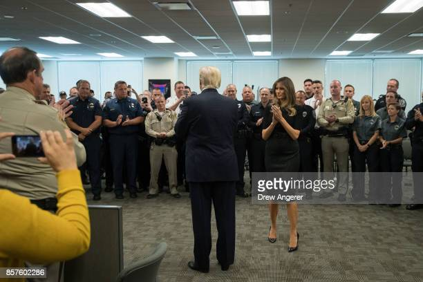 President Donald Trump and first lady Melania Trump greet a room full of police officers and first responders at Las Vegas Metropolitan Police...