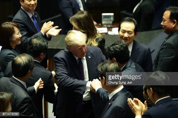 S President Donald Trump and first Lady Melania Trump leaves after speech at the National Assembly on November 8 2017 in Seoul South Korea Trump is...