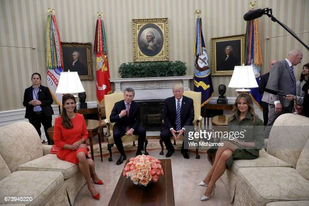 S President Donald Trump and first lady Melania Trump meet with President Mauricio Macri of Argentina and the first lady of Argentina Juliana Awada...