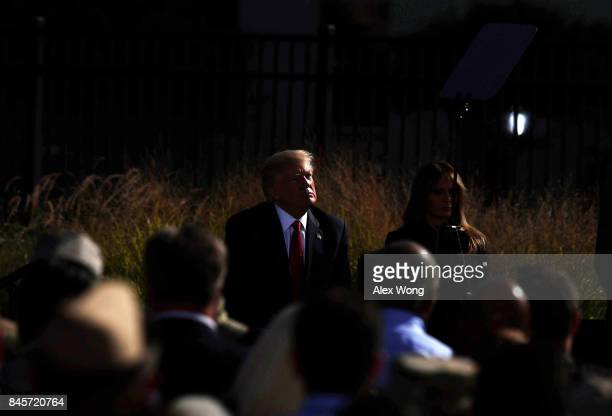 S President Donald Trump and first lady Melania Trump participate in an observance to commemorate the anniversary of the 9/11 terror attacks at the...