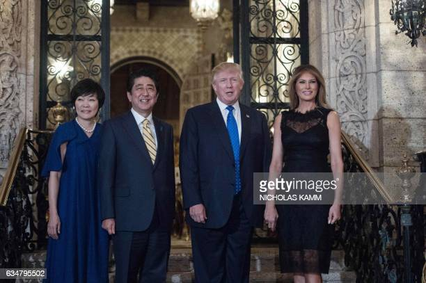 US President Donald Trump and First Lady Melania Trump pose for photos with Japanese Prime Minister Shinzo Abe and his wife Akke Abe at Trump's...