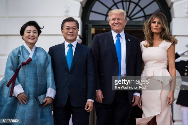 President Donald Trump and First Lady Melania Trump receive South Korean President Moon Jaein and his wife Kim Jeongsuk at the on the South Portico...