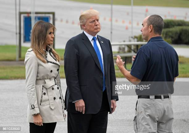 US President Donald Trump and first lady Melania Trump tour the US Secret Service James J Rowley Training Center on October 13 2017 in Beltsville...