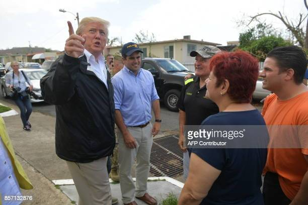 US President Donald Trump and First Lady Melania Trump visit residents affected by Hurricane in Guaynabo west of San Juan Puerto Rico on October 3...