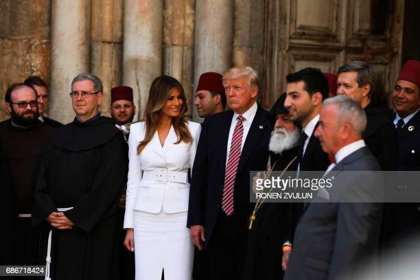US President Donald Trump and First Lady Melania Trump visit the Church of the Holy Sepulchre in Jerusalems Old City on May 22 2017 ZVULUN