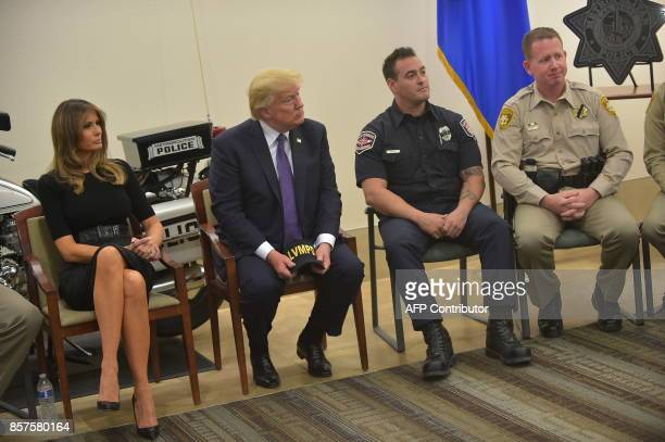 US President Donald Trump and First Lady Melania Trump visit with volunteers and first responders at the Las Vegas Metropolitan Police Department...