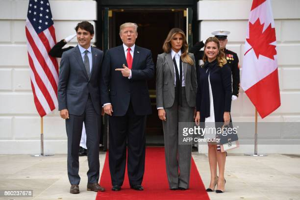 US President Donald Trump and First Lady Melania Trump welcome Canadian Prime Minister Justin Trudeau and his wife Sophie Gregoire Trudeau at the...