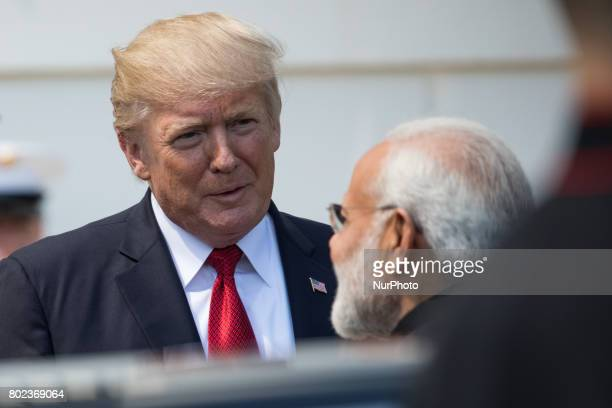 President Donald Trump and First Lady Melania Trump welcomed Prime Minister Narendra Modi of India at the South Portico of the White House on Monday...