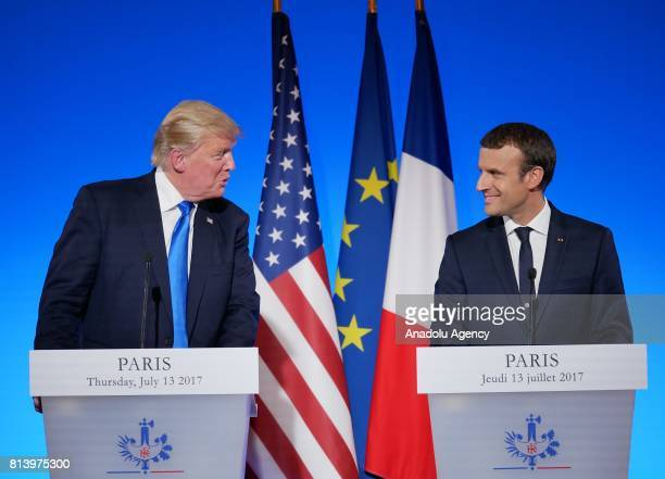 S President Donald Trump and French President Emmanuel Macron hold a joint press conference after their meeting at the Elysee Palace in Paris France...